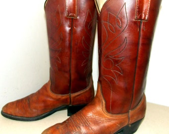 Funky Vintage Brown Two tone cowboy boots