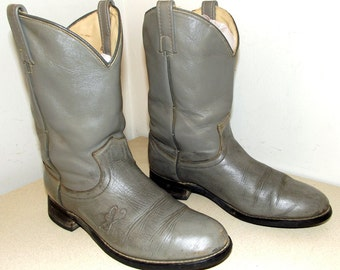 Vintage Grey Leather Cowboy Boots with Butterfly in a cowgirl size 7 M