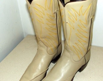 Vintage Dan post brand Cowboy boots light tan with orange and brown embroidery