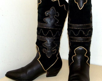 Tall Womens Fashion Boots Black and Gold Pazzo brand  size 6.5 M