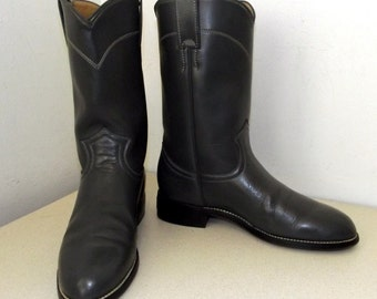 Fun n Funky steel grey leather Justin brand cowboy boots -- roper style