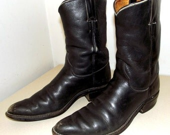 Rockabilly style Black Justin brand vintage cowboy boots