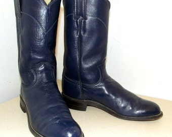 Justin Blue Leather Cowboy Boots size 5.5 B