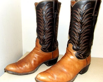 Nicely broken in Justin brand cowboy boots -- two tone brown