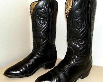 Rockin Black Western Rockabilly style cowboy boots size 9 E or cowgirl size 10.5 wide