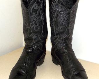 Black Leather Dan Post brand Cowboy boots mens size 10.5 D - western wear