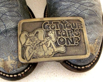 Vintage CB Radio Belt Buckle with bunny rabbit - Got Your Ears On