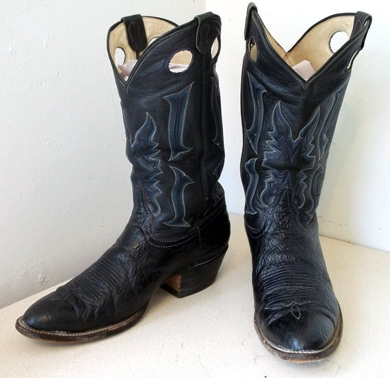 Vintage Laramie Handmade Black leather cowboy boots size 10 or cowgirl size 11.5