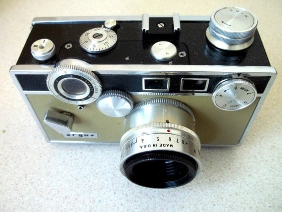 Vintage Argus 35 mm camera with 50 mm lens THE BRICK two tone with leather fitted case