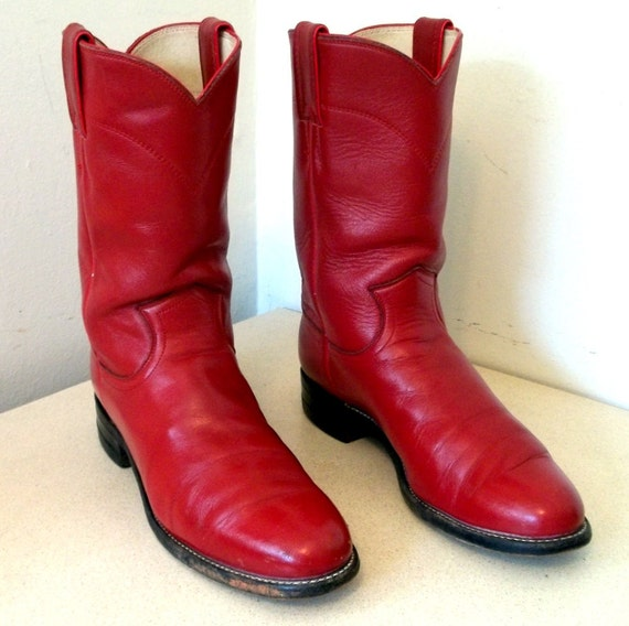 Rockin Vintage Justin Red Leather Cowgirl Boots size 7.5 A