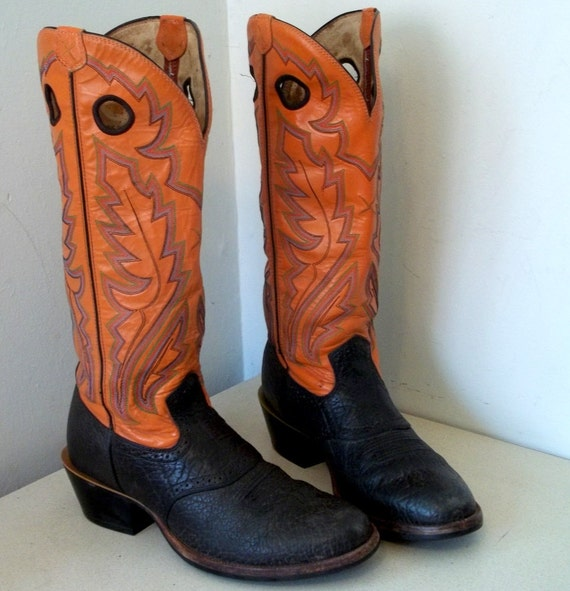 Super Fun Orange Cowboy Boots size 10.5 with by honeyblossomstudio