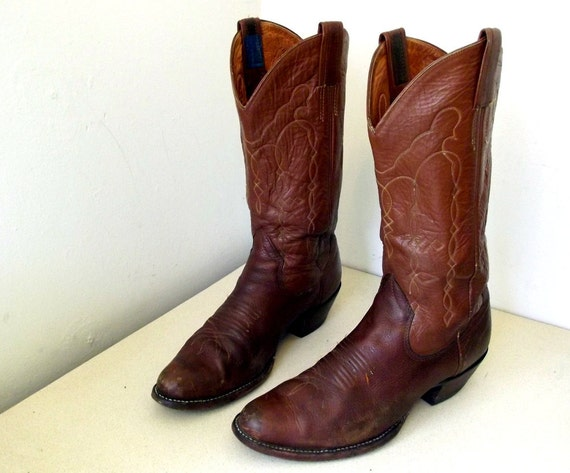 Awesome Vintage The Sanders Cowboy Boots in Two Tone Brown