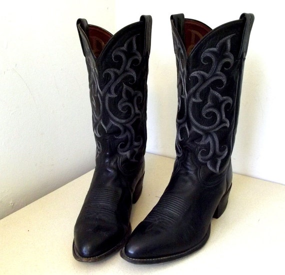 Vintage Tony lama Black Leather Cowboy Boots size 10.5 D or Cowgirl size 12