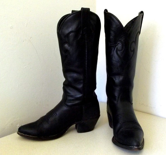 Vintage Black Leather J. Chisholm brand Cowgirl Boots size 5.5 M