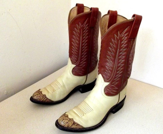 Gorgeous Vintage Tony lama Cowboy boots Cream and Tan leather with leopard like toe tips