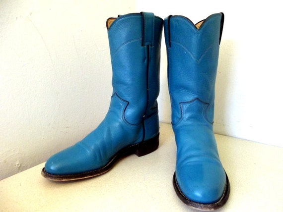 Vintage Vibrant Turquoise Blue Cowboy boots by honeyblossomstudio