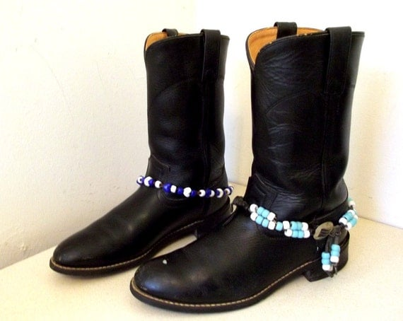 Vintage Black Leather Acme Brand Cowboy Boots size 7 D or Cowgirl size 8.5 with handmade boot bracelets