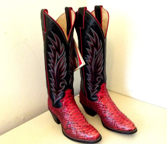SOLD to MFW Fantastic Vintage Justin brand Cowboy Boots Black leather with red python snake skin