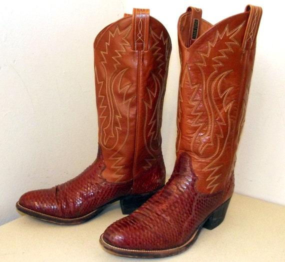 Vintage Dan Post Cowboy Boots Python Snakeskin Size 8 D Or