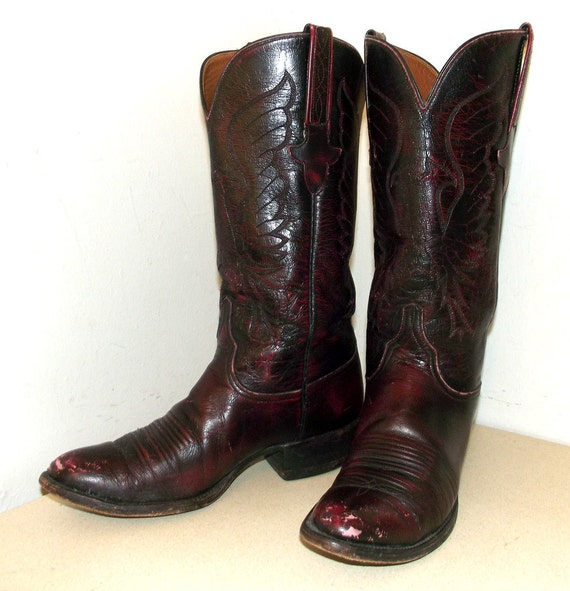 Vintage  Lucchese Burgandy Wine Leather Cowboy boots size 8 D or Cowgirl size 9.5