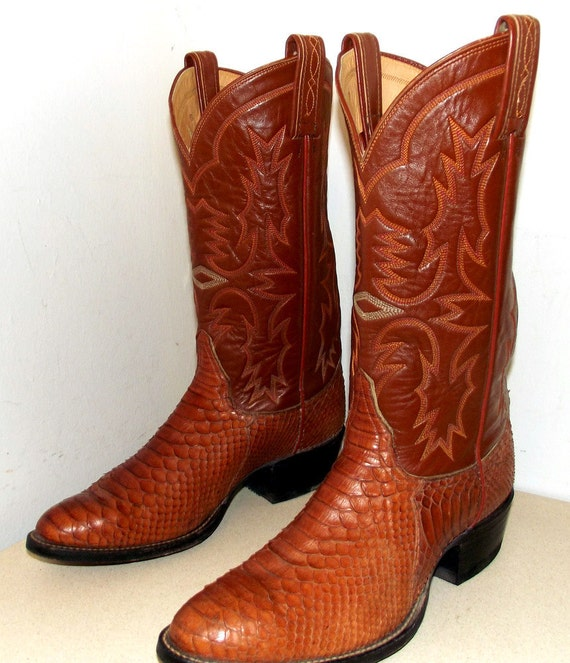 Vintage Tony Lama Snakeskin Cowboy Boots Size 9 5 D Or Cowgirl