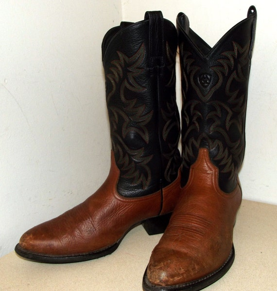 Ariat brand Cowboy boots black and brown size 10 D or cowgirl