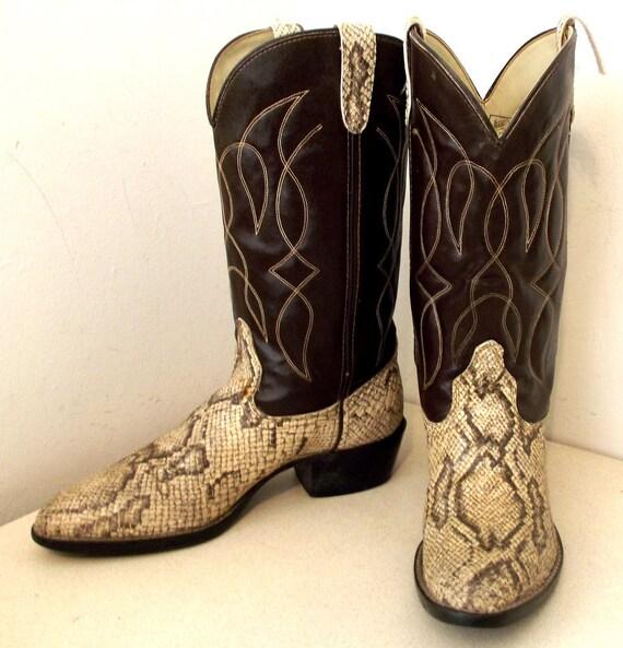 Vintage Bronco brand Cowboy Boots Brown and Faux Snakeskin size 10.5 D VEGAN FRIENDLY