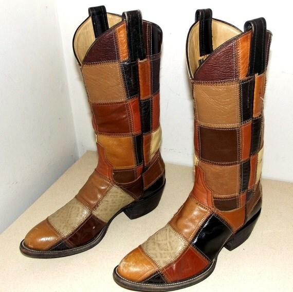 Vintage Cowboy Boots -- Laramie Brand -- Brown Patchwork Leather Design