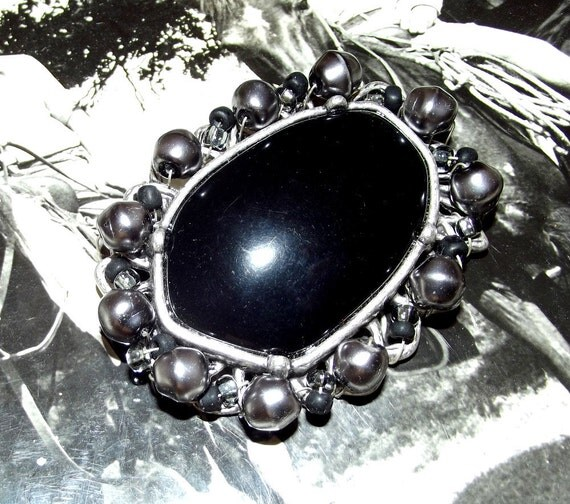 Vintage Black Onyx Brooch Pin set in silver with grey black and clear beads