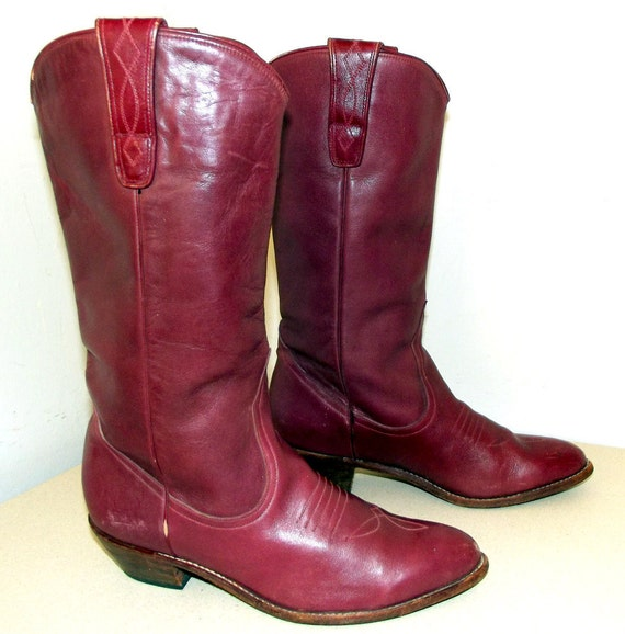 Vintage Burgundy Mauve Western Cowgirl boots size 8