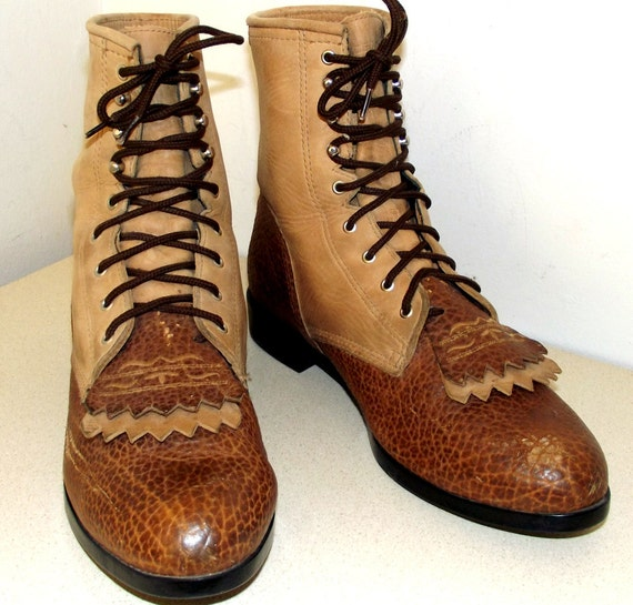 Two tone tan brown lace up Ariat work boots with removable fringe size 9