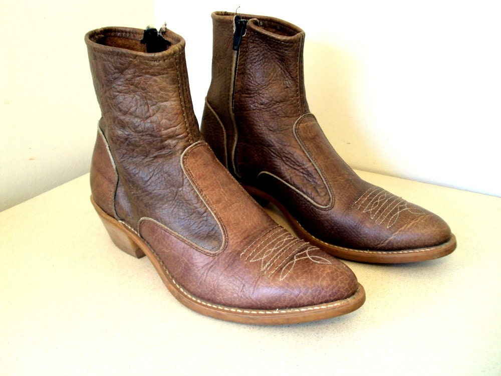 Vintage Brown Low Cowboy Boots with a side by honeyblossomstudio
