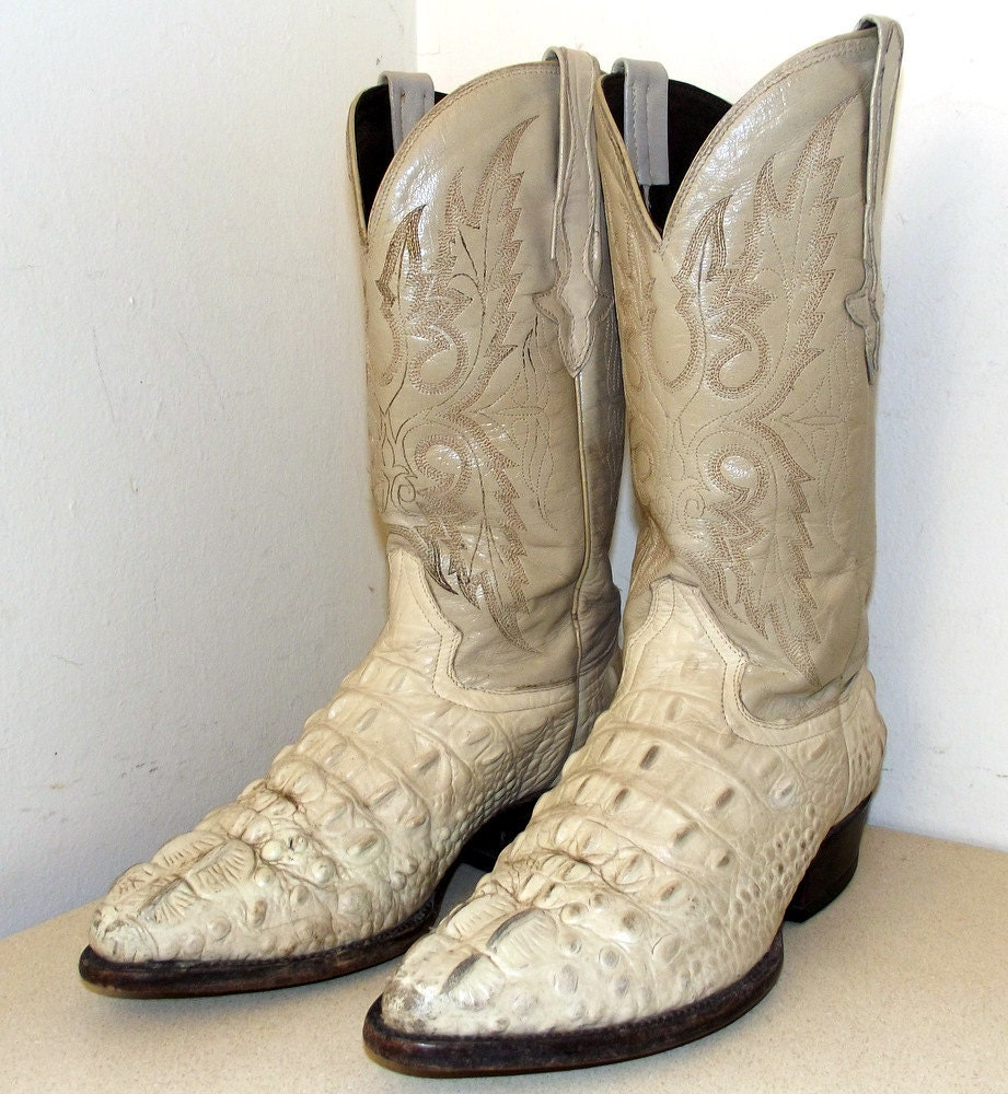 Awesome Vintage Off White Crocodile Cowboy By