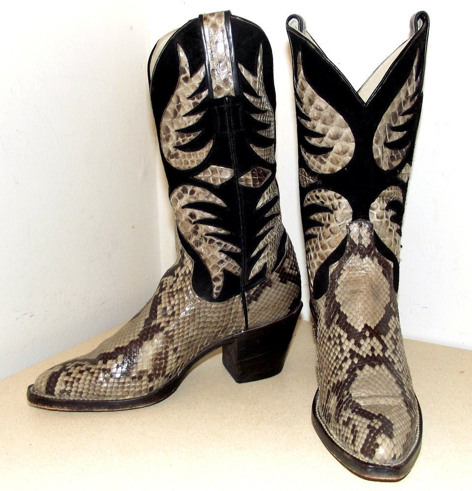 vintage larry mahan snakeskin cowboy boots