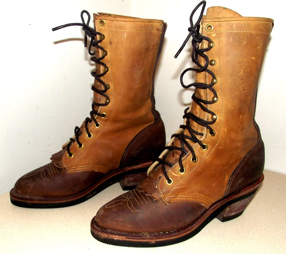 Tall Chippewa brand Lace up western cowboy boots two tone