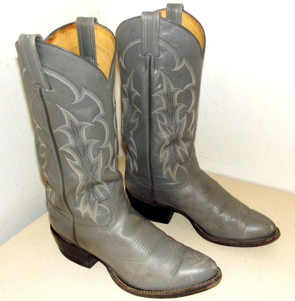 Grey Leather Tony Lama Cowboy boots size 8.5 D or cowgirl size