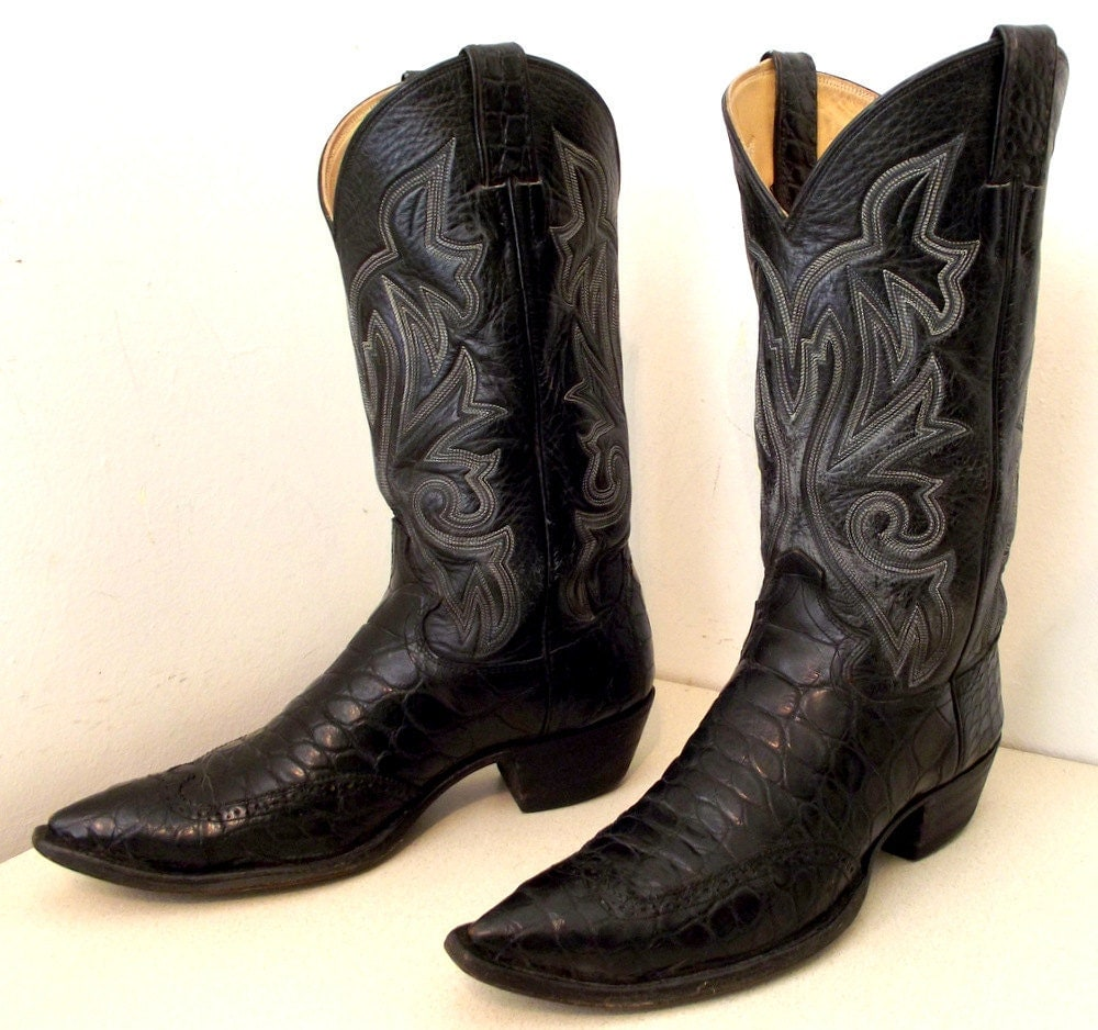 RESERVED Black Alligator Cowboy Boots With Wingtips