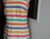 Upcycled Rainbow stripe cha-cha dress with teal ruffle