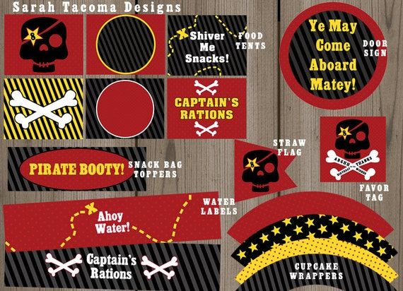 Pirate Birthday Party - Complete Collection - Toppers, Banner, Party Signs, Favor Tags & More - Customized Printable