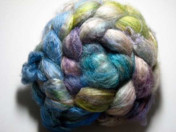 Baby Camel/Tussah Silk 50/50 Combed TOP 3.0 oz - Tidal Froth 2