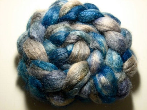 Baby Camel/Tussah Silk 50/50 Combed TOP 3.0 oz -  Blue Smoke 3