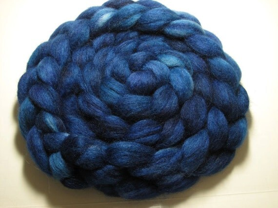 Sale Blue Faced Leicester/Tussah 85/15 Combed TOP 5.0 oz - Lapis 1