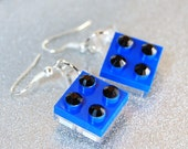 Royal Blue - Lego Earrings - Upcycled Jewelry With Swarovski Crystals