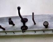 Reclaimed Coat rack vintage hardware Found object hanger