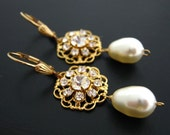 Cilla Gold Bridal Earrings Bridal Earrings 14K gold filled Swarovski Crystal and Pearl Earrings