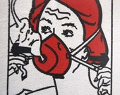 Oxygen Mask Lady from Airline Emergency Placards on a Women's Alternative Apparel T-shirt  SMALL