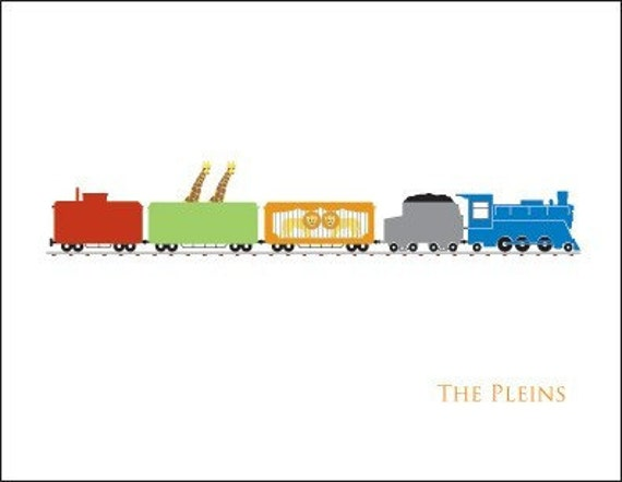 Circus Train Personalized Stationary (Set of 10)