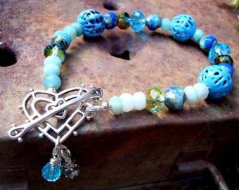 Sky Blue gemstone torch fired enamel heart bracelet