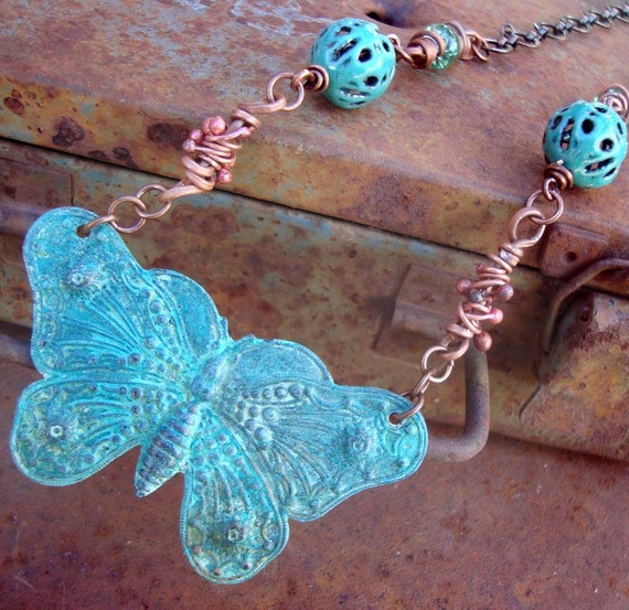 Boho Butterfly torch fired glass enamel and patina butterfly necklace