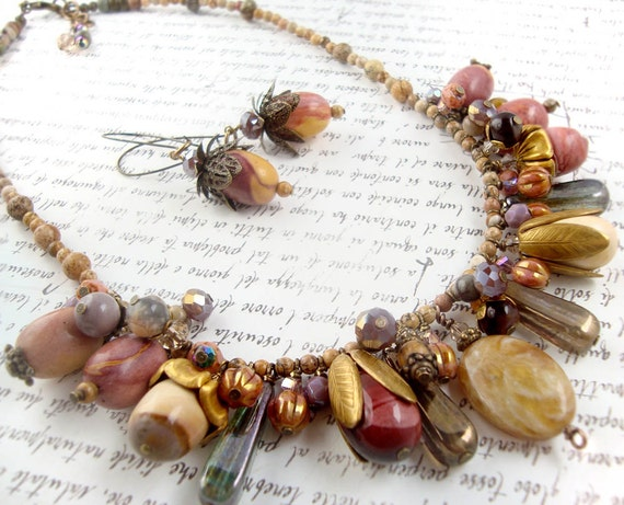 Desert Rain nomadic gemstone chunky necklace earring set